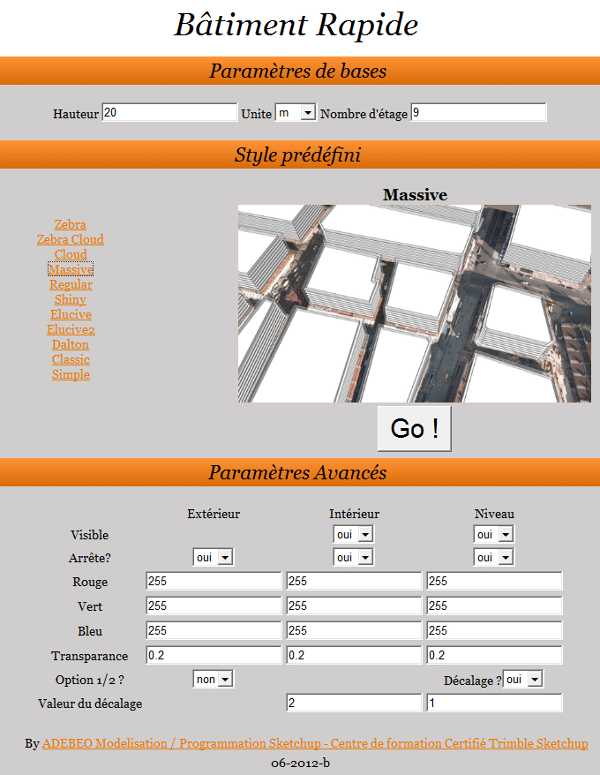 fenêtre configuration quickbuilding